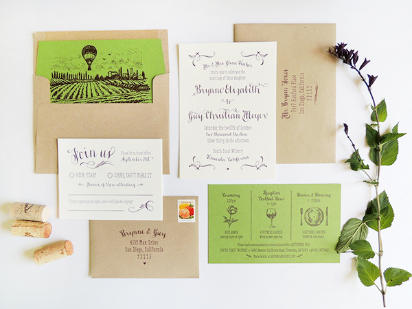 Rustic Vineyard Letterpress Wedding Invitations Harken Press6