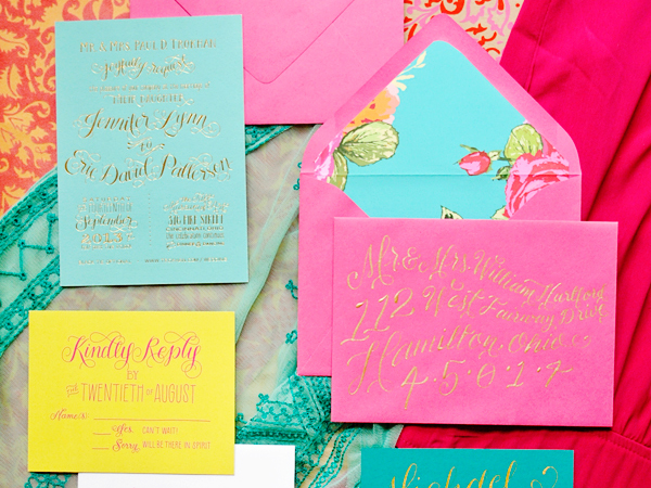 jennifer eric 39 s colorful gold foil calligraphy wedding
