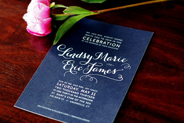 Lindsy + Eric\'s Hot Pink and Navy Floral Wedding Invitations