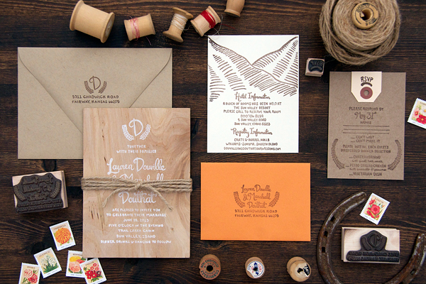 Wood-Orange-Sun-Valley-Wedding-Invitations-Lovely-Paper-Things
