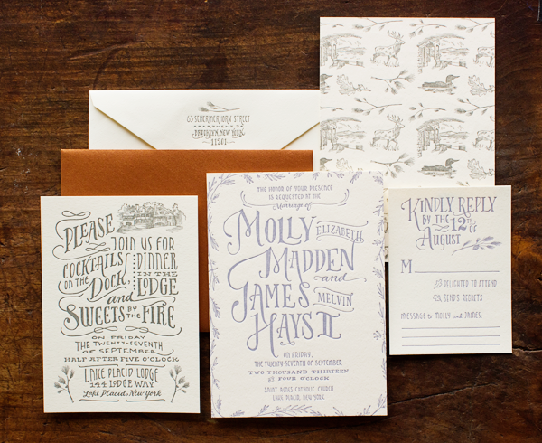 Woodland Toile Wedding Invitations by Ladyfingers Letterpress