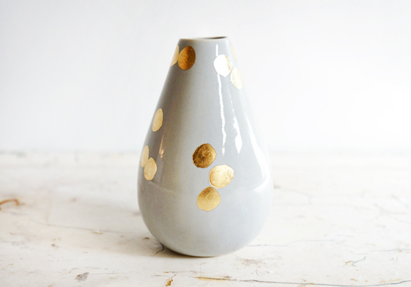 The Object Enthusiast Gray Gold Polka Dot Vase Quick Pick: The Object Enthusiast