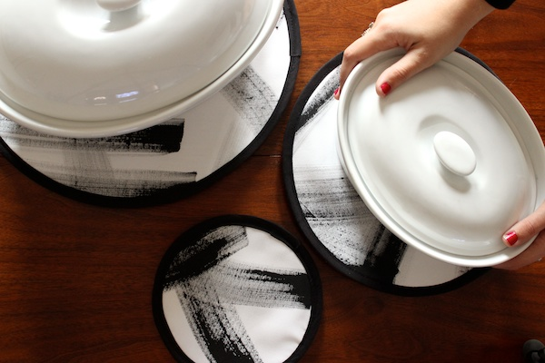 DIY Brushstroke Hot Pads by Mandy Pellegrin for Oh So Beautiful Paper