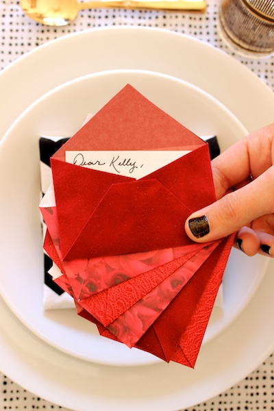 DIY Mini Love Letter Placecards OSBP 14 DIY Tutorial: Love Letter Dinner Party Placecards