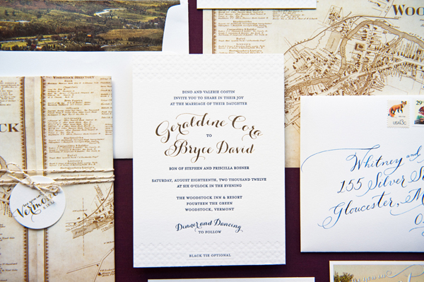 Vintage Map and Gold Foil Wedding Invitations by Gus & Ruby Letterpress via Oh So Beautiful Paper