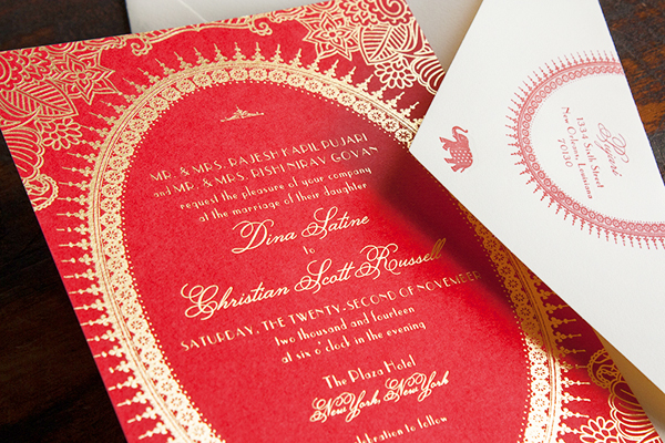 Moulin-Rouge-Indian-Inspired-Gold-Foil-Wedding-Invitations-Lucky-Luxe2