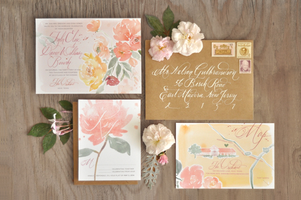 tyler + david's floral watercolor wedding invitations, Wedding invitations