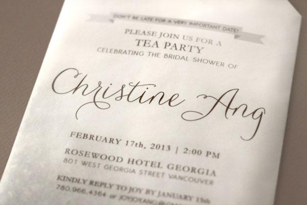 Joys DIY Tea Bag Bridal Shower Invitations – Handmade Tea Party Invitations