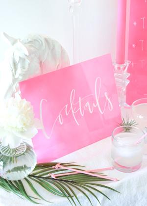 DIY Hand Lettered Plexiglass Cocktail Menu / Oh So Beautiful Paper