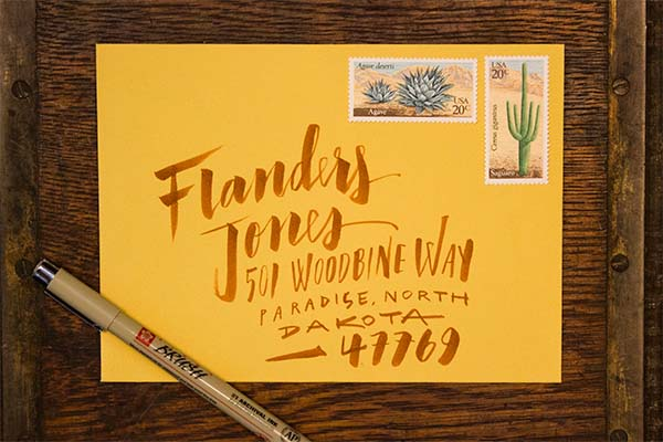 Envelope Address Hand Lettering Tutorial by Ladyfingers Letterpress / Oh So Beautiful Paper