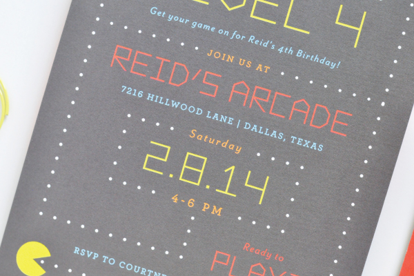 Reids PacMan Arcade Game Birthday Party Invitations