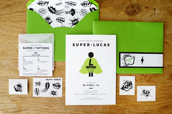 lucas s superhero 4th birthday party invitations