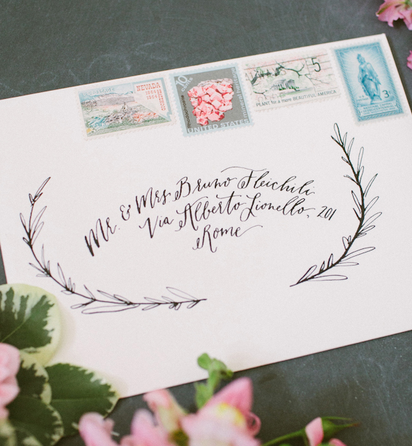 Envelope Inspiration: Calligraphy and Vintage Stamps / Calligraphy: The Weekend Type, Floral Styling: The Moss & Rose, Styling: To Be Wed / Oh So Beautiful Paper