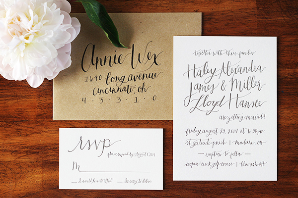 Haley Millers Informal Calligraphy Wedding Invitations