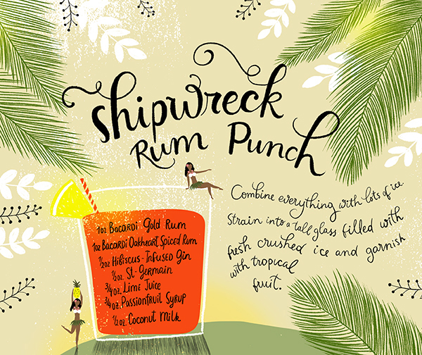 Rum Punch Cocktail Recipe Card Illustration by Dinara Mirtalipova for Oh So Beautiful Paper