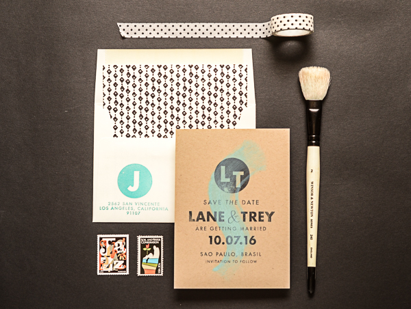 DIY Tutorial: Modern Save the Date with a Splash of Color by Antiquaria for Oh So Beautiful Paper