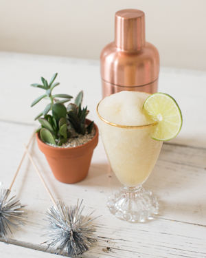 Frozen St-Germain Daiquiri Cocktail Recipe by Oh So Beautiful Paper / Photo by Sweet Root Village