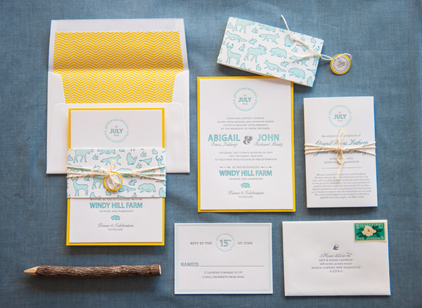 rustic letterpress summer wedding invitations gus and ruby - Summer Wedding Invitations
