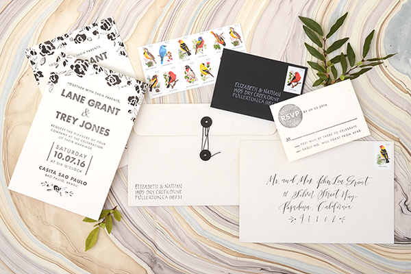 DIY Modern Floral Hand Painted Wedding Invitations by Antiquaria for Oh So Beautiful Paper
