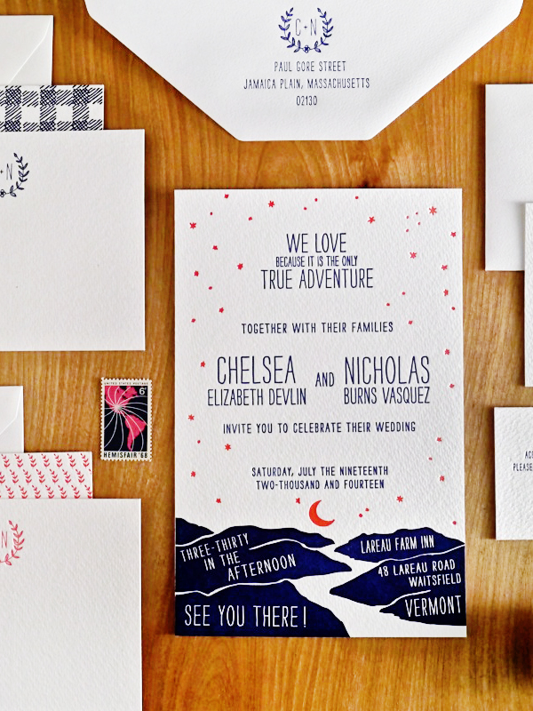 night under the stars wedding invitations