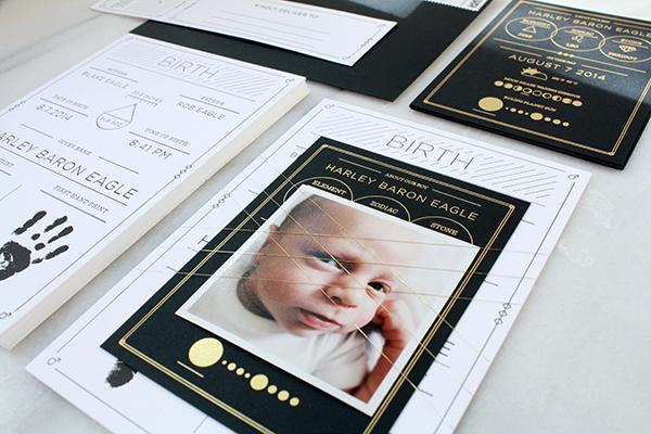 Harleys Modern Black and White Baby Announcements – Black and White Birth Announcements