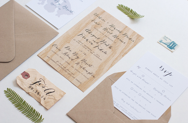 Modern Rustic Wood Veneer Wedding Invitations – Handmade Rustic Wedding Invitations