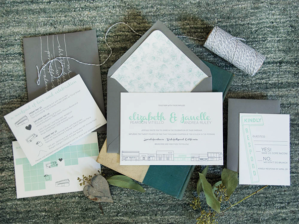 Modern Mint and Gray Wedding Invitations