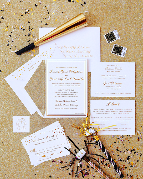 Gold New Years Eve Wedding Invitations Courtney Can