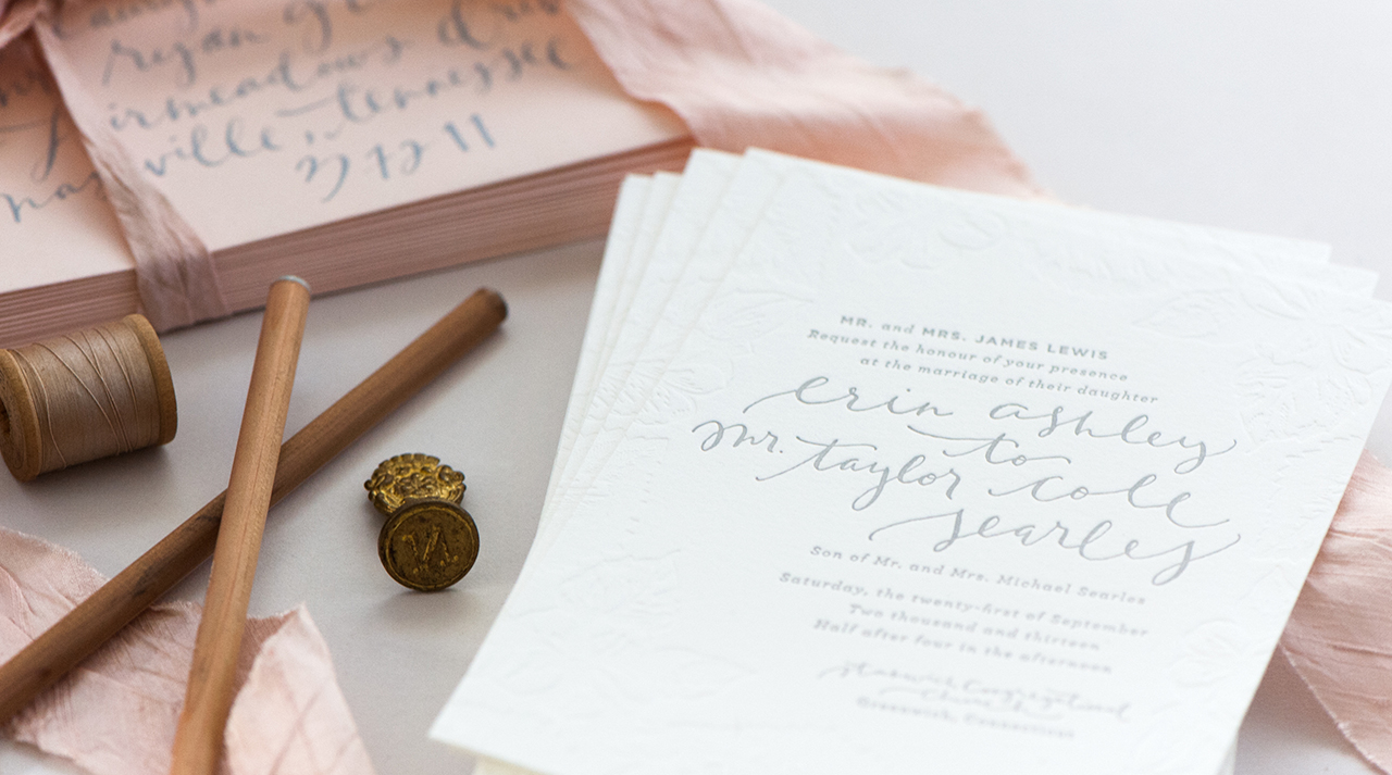 Romantic Blush and Gray Wedding Invitations by Coral Pheasant