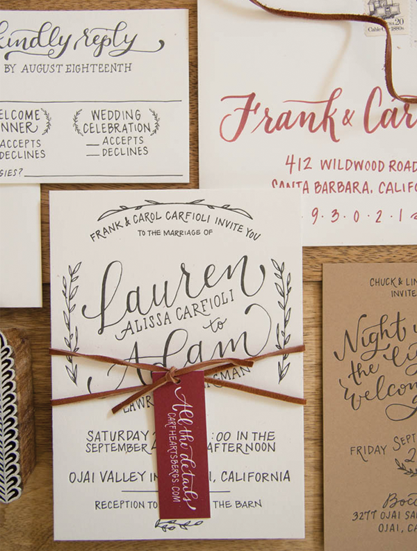 Rustic Hand Lettered Wedding Invitations