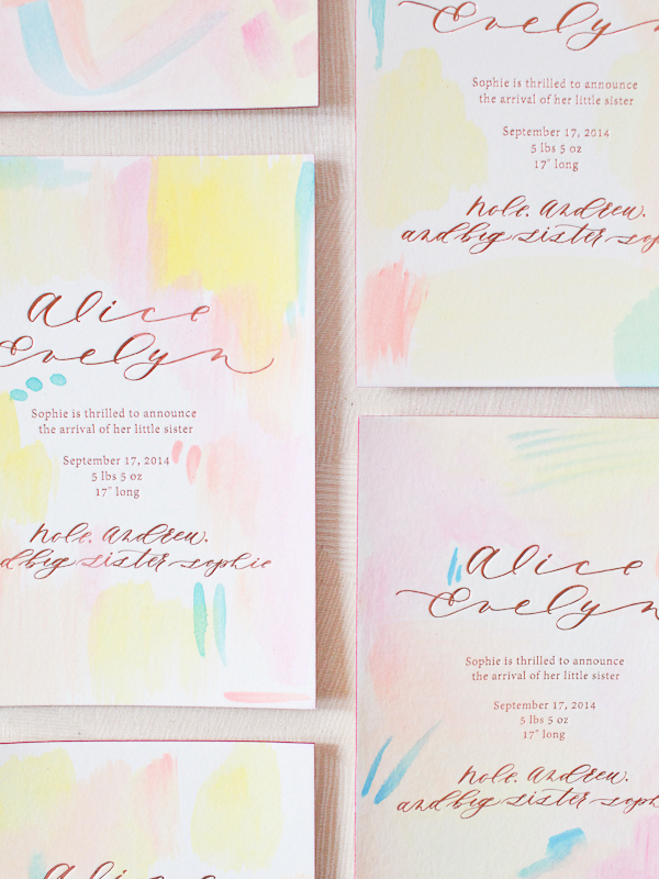 Hand-Painted-Rose-Gold-Foil-Birth-Announcements-Mon-Voir-Calligraphy-Bella-Figura-OSBP-174