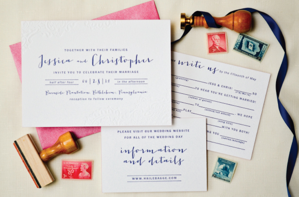 Navy-Hot-Pink-Blind-Impression-Lace-Wedding-Invitations-Sincerely-Jackie-OSBP