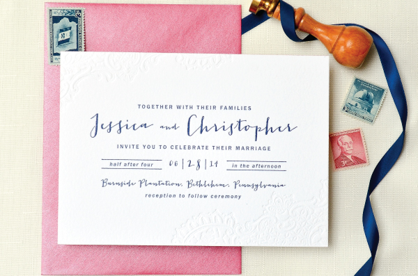 Navy Hot Pink Blind Impression Lace Wedding Invitations
