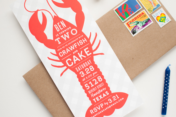 Bens Crawfish and Cake Birthday Party Invitations