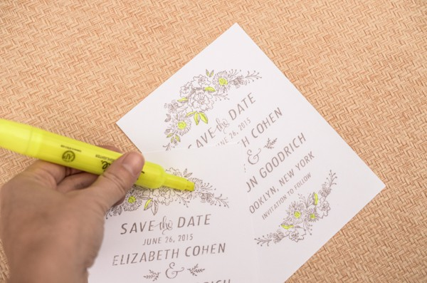 DIY Neon Floral Save the Date Tutorial by Antiquaria for Oh So Beautiful Paper