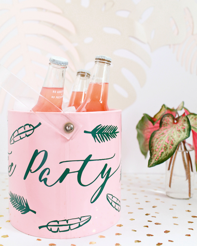 DIY Let's Party Tropical Palm Frond Ice Bucket / Oh So Beautiful Paper