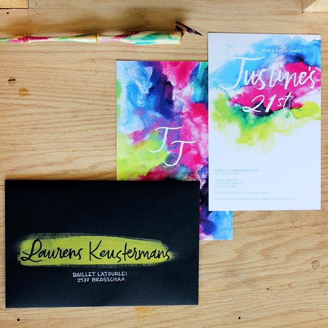 Colorful Watercolor Birthday Party Invitations by Ashley Bush Lettering and Design / Oh So Beautiful Paper