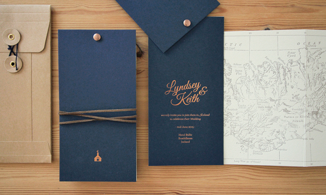 Copper Foil and Navy Iceland Wedding Invitations  / The Hunter Press / Oh So Beautiful Paper