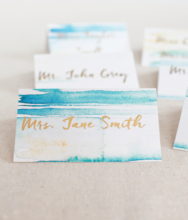 DIY Gold Foil Place Cards with Watercolor Background / Heidi Swapp Minc Foil Applicator / Oh So Beautiful Paper