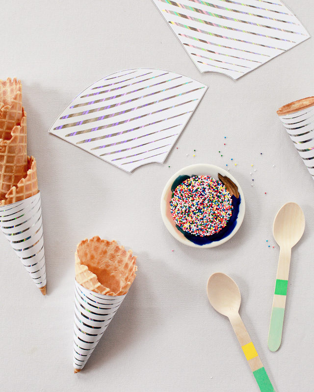 Printable Hologram Foil Ice Cream Cone Wrapper / Oh So Beautiful Paper