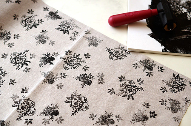 DIY Printed Fabric with Rubber Stamps / Antiquaria for Oh So Beautiful Paper