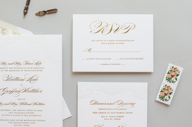 Gold Foil and Lace Wedding Invitations by Lauren Chism Fine Papers / Oh So Beautiful Paper