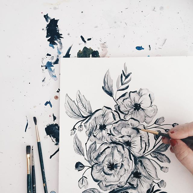 Shannon Kirsten Black and White Floral Painting via Instagram / Oh So Beautiful Paper