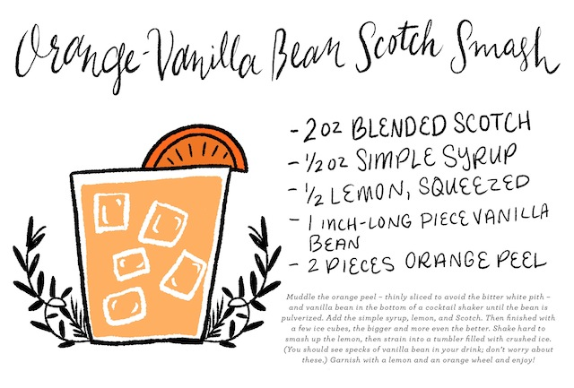 Orange-Vanilla Bean Scotch Smash Cocktail Recipe Card / Illustration by Shauna Lynn for Oh So Beautiful Paper