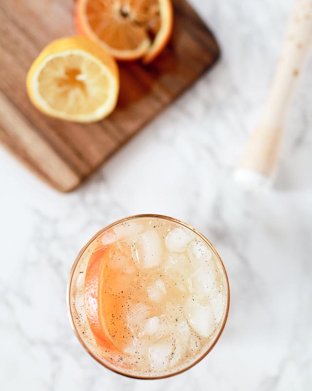 Orange-Vanilla Bean Scotch Smash Cocktail Recipe / Liquorary for Oh So Beautiful Paper