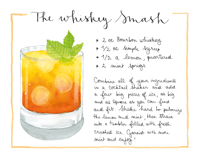 Whiskey Smash Cocktail Recipe Card / Nathalie Ouederni for Oh So Beautiful Paper