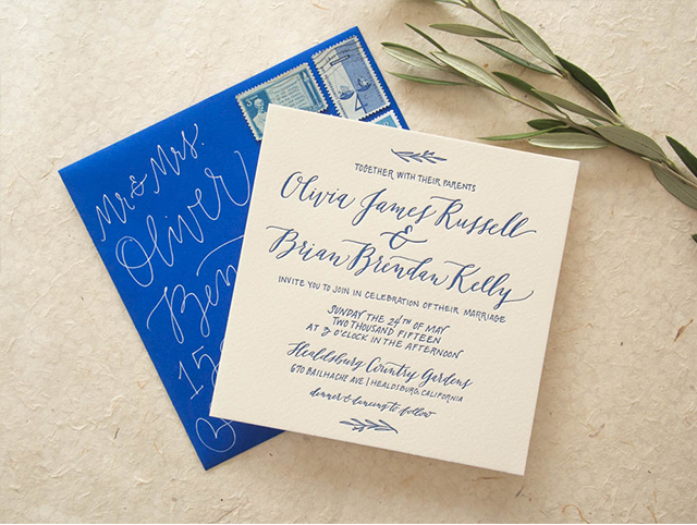 Cobalt calligraphy wedding invitations