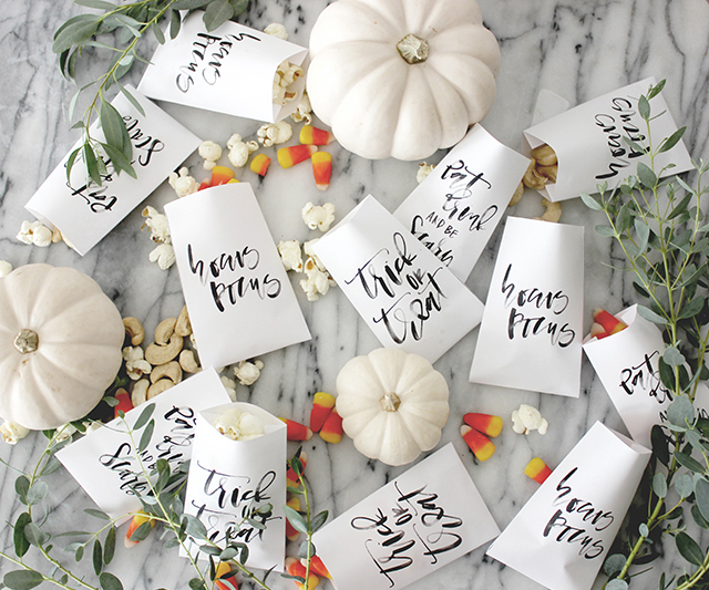Printable Calligraphy Halloween Favor Bag / A Fabulous Fete for Oh So Beautiful Paper