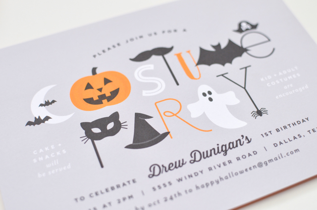 Halloween First Birthday Costume Party Invitations