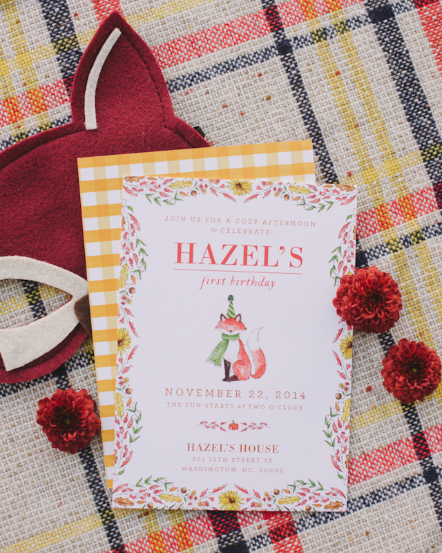 Fall Harvest First Birthday Party Invitations by Swiss Cottage Designs / Photo Credit: Sweet Root Village / Oh So Beautiful Paper